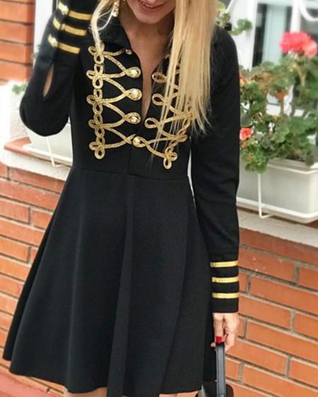Contrast Button Detail Mini Dress