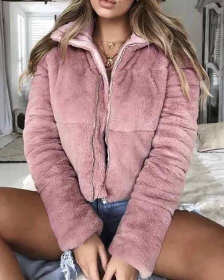 boutiquefeel / Faux Shearling Zip Coat
