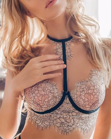 Eyelash Crochet Lace Ladder Cutout Bra Set