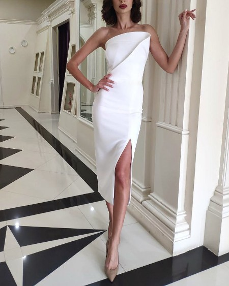 Solid Ruched Tube Slit Party Dress