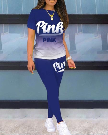 Ombre Colorblock Letter Print T-shirt & Pants Set