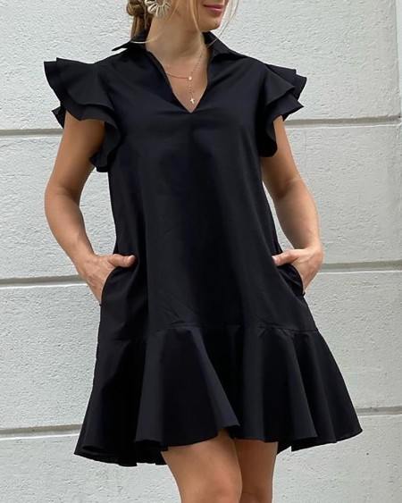 Flutter Sleeve Ruffle Trim Pockets Casual Dress