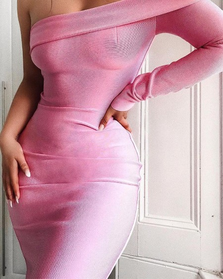 Hot Pink One Shoulder Bodycon Dress