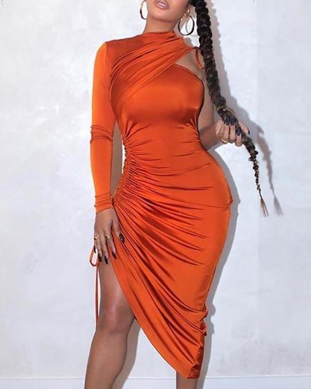 One Shoulder Drawstring Ruched Dress