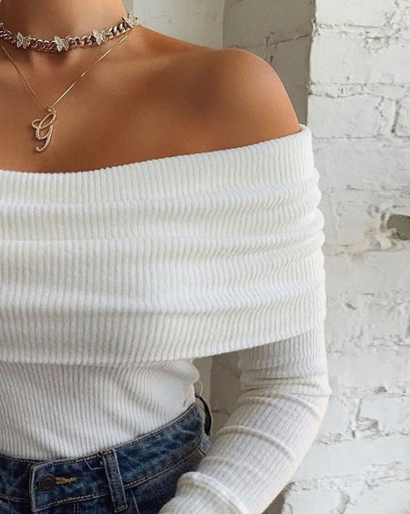 Off Shoulder Long Sleeve Plain Top