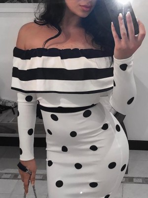 Off Shoulder Dots & Striped Splicing Bodycon Dress