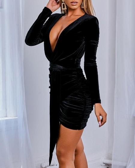 Solid Plunge Tied Irregular Velvet Dress