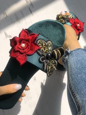 Bee & Floral Embellished Single Strap Flat Sandal
