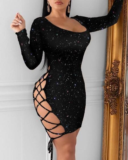 Glitter Lace-Up Sequins Dress