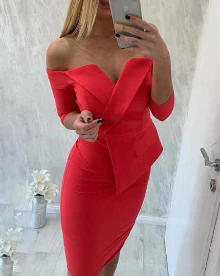 Off Shoulder Fake Two Piece Blazer Dress