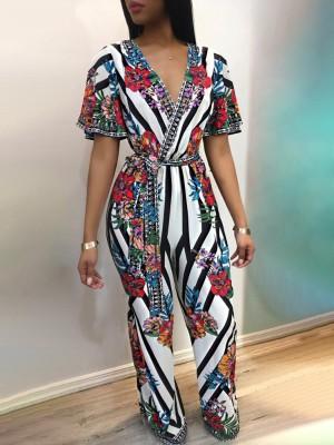 Deep V Striped Floral Print Belted Jumpsuit