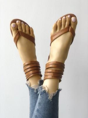 PU Multi-strap Toe Post Flat Sandals