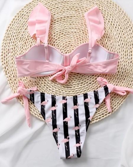 Flamingo Print Bowknot Design Bikini Set