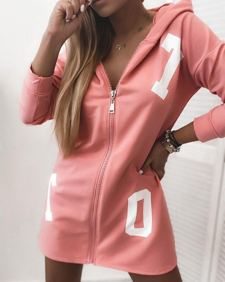 Print Hooded Zipper Hoodies Coat