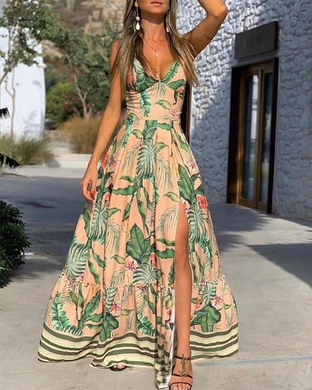 Tropical Print Slit Maxi Dress