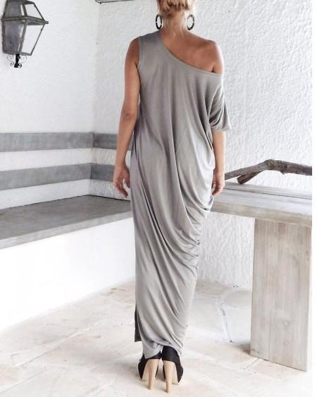 Side Slit One Shoulder Maxi Dress