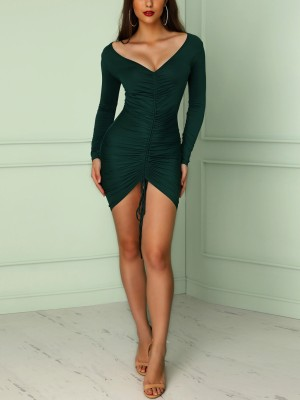 Deep V Ruched Irregular Bodycon Dress