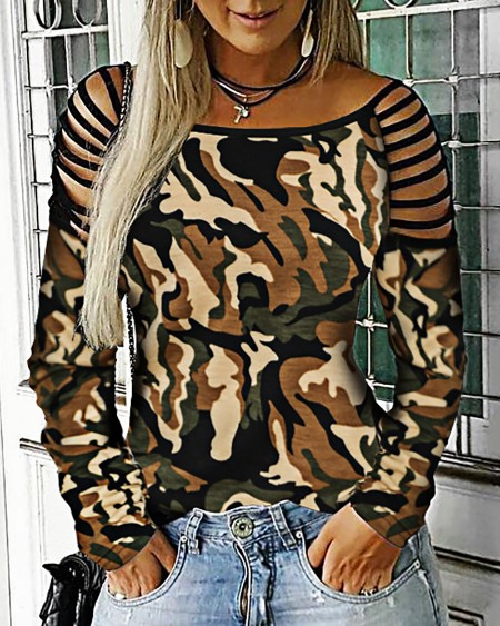 Camouflage Ladder Cutout Tassel Sleeve T-shirt