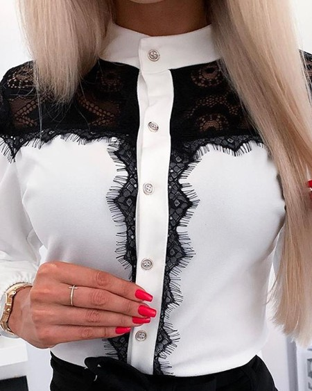 Stand Collar Button Front Lace Top