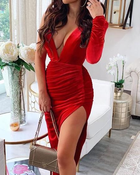 One Shoulder High Slit Dress