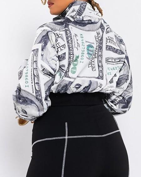 Plus Size Zipper Dollars Print Lantern Sleeve Crop Coat