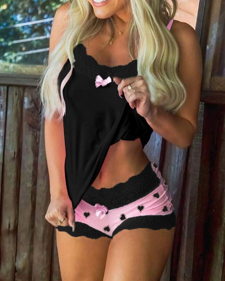 Heart Print Lace Trim Bowknot Decor Cami Set