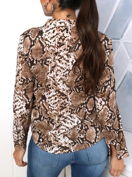 Snakeskin Print Plunge Long Sleeve Blouse
