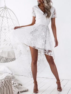 Floral Lace Lace-up Open Back Dip Hem Dress