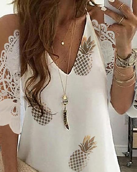 Pineapple Print Cold Shoulder Crochet Lace Dress