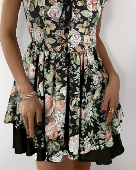 Eyelet Lace-up Off Shoulder Floral Print Dress