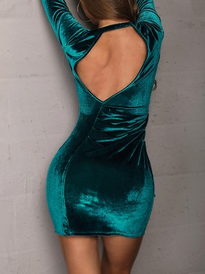 Ruched Design Open Back Bodycon Dress