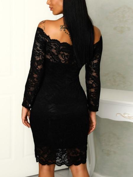 Lace Crochet Slash Neck Bodycon Dress