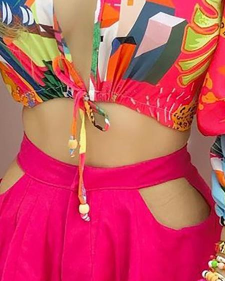 Colorblock Lantern Sleeve Croop Top & Cutout Plain Shorts Set