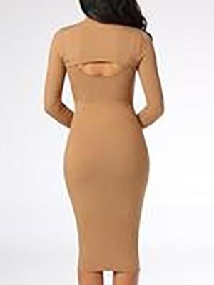 Fake Two Piece Cut Out Zipper Design Dress