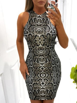 Sleeveless Snakeskin Print Bodycon Dress