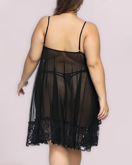 Plus Size Sheer Mesh Lace Bowknot Decor Babydoll
