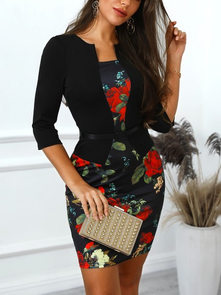 Vintage Floral Print Belted Fake Two Piece Dress
