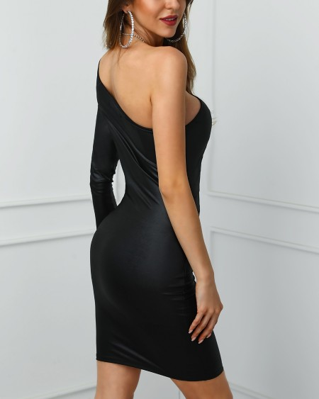 One Shoulder Coated PU Bodycon Dress
