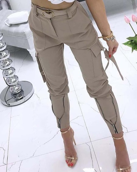 Pocket Zipper Design Tied Cuff Cargo Pants