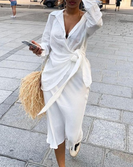 Solid Knotted Waist Ruched Shirt Dress