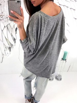 Trendy Solid V Neck Casual Blouse
