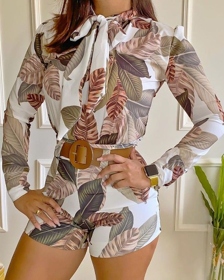 Tropical Print Tie Neck Long Sleeve Top & Shorts Set