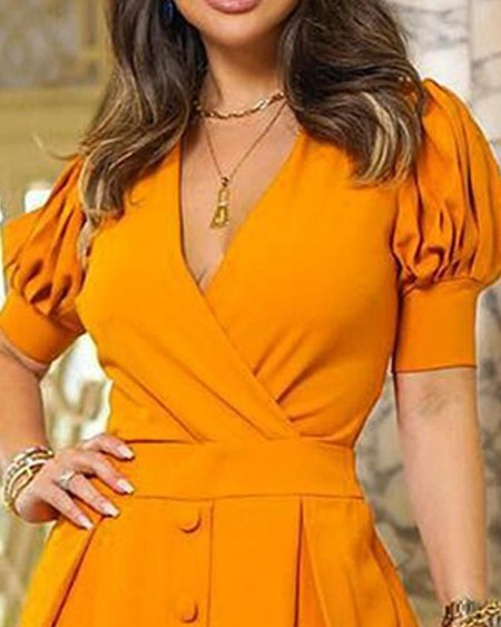 Puffed Sleeve Buttoned Casual Dress