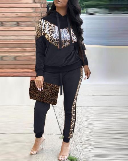 boutiquefeel / Leopard Drawstring Design Hooded Top & Pencil Pant Sets
