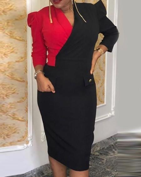Plus Size Colorblock Patchwork Deep V Neck Bodycon Dress