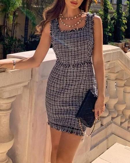 Square Neck Frayed Hem Tweed Mini Dress