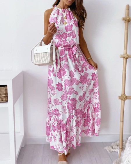 Halter Blooming Floral Print Slit Back Maxi Dress