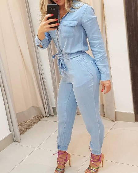 Zipper Pocket Design Denim Jumpsuit