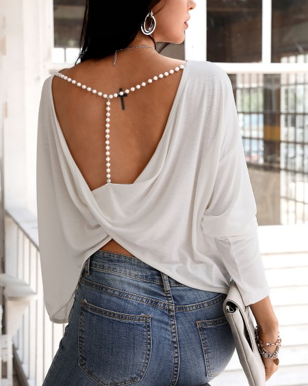 Solid Beaded Strap Backless Twisted Top
