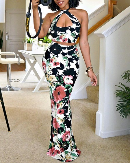 Floral Print Halter Top & Maxi Skirt Sets